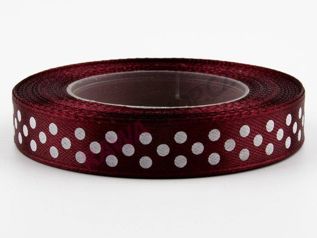 Saténová tečkovaná stuha 1,2cm - burgundy