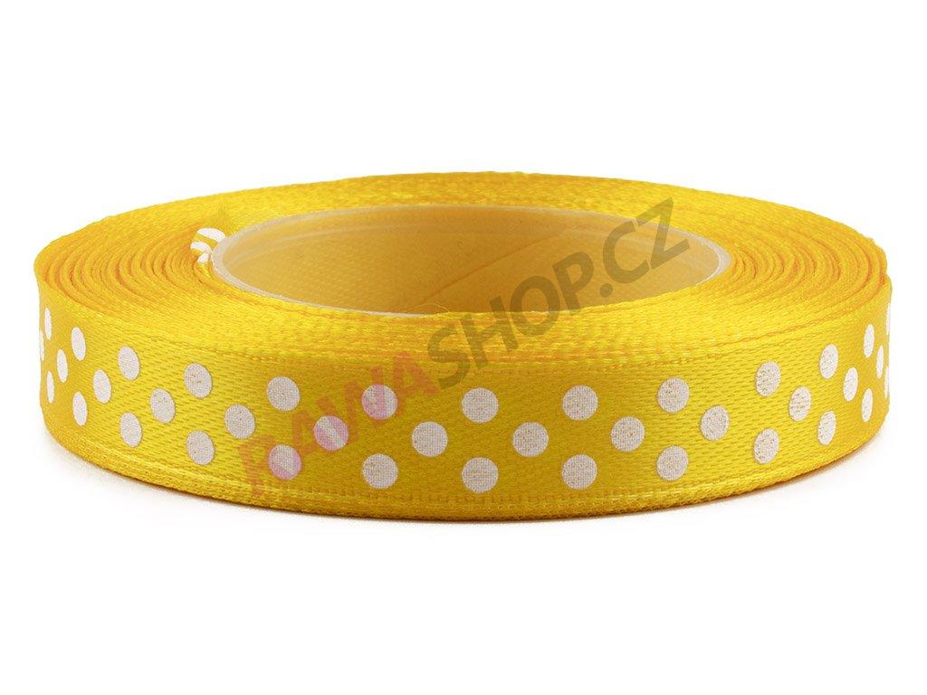 Saténová tečkovaná stuha 1,2cm - dark yellow