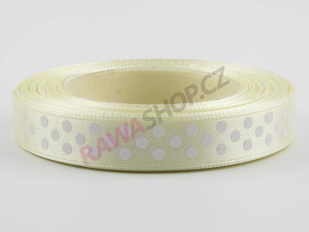 Saténová tečkovaná stuha 1,2cm - cream