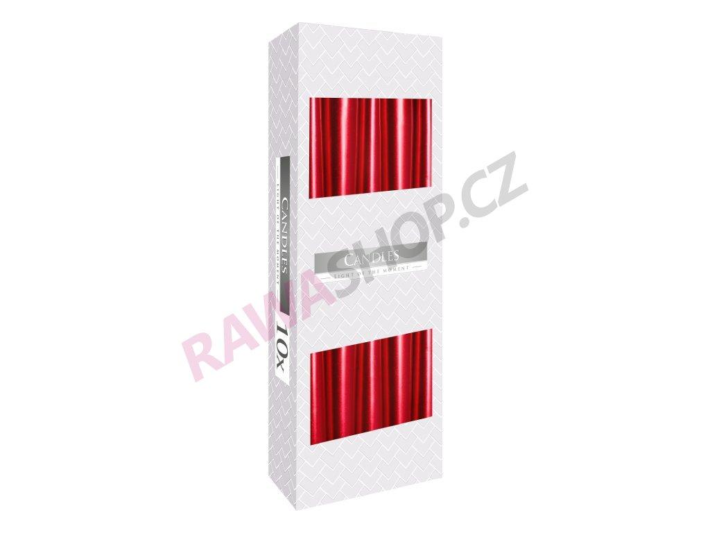 11. Kónické svíčky 10ks červená metalíza BS30 230