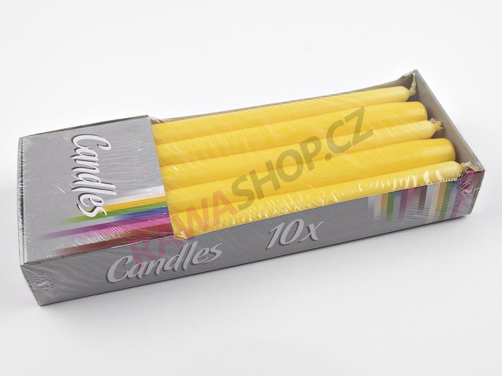 Kónické svíčky 10ks - žlutá