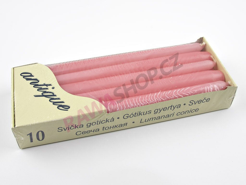 Kónické svíčky 10ks - růžová