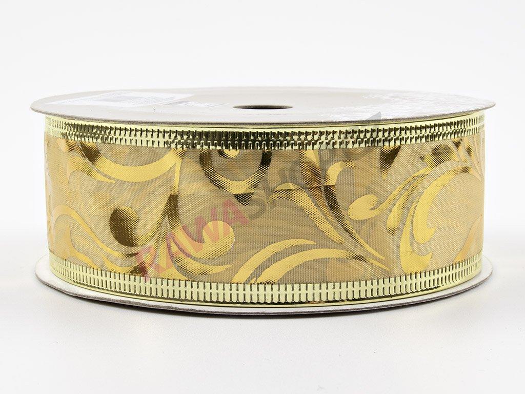 Organzová stuha 3,8cm - zlatá