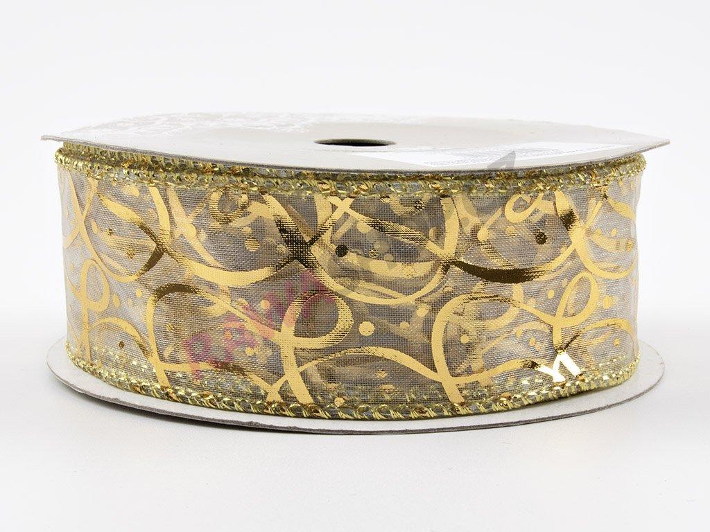 Organzová stuha 3,8cm - bílo-zlatá
