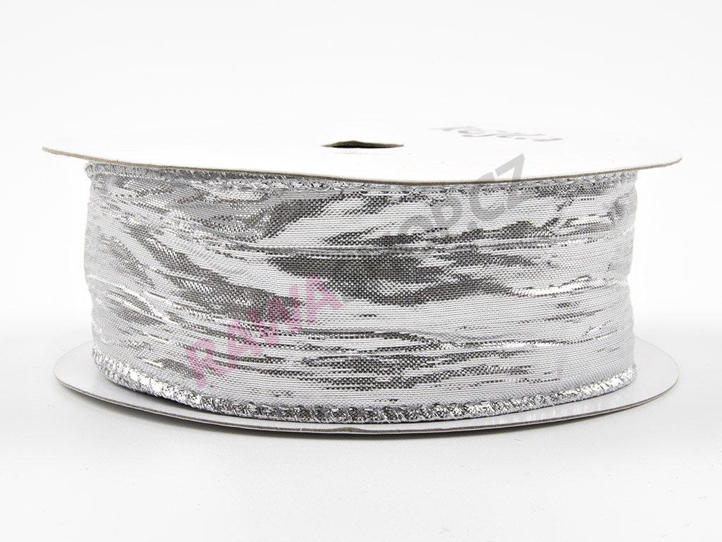 Pomačkaná stuha 3,8cm - stříbrná