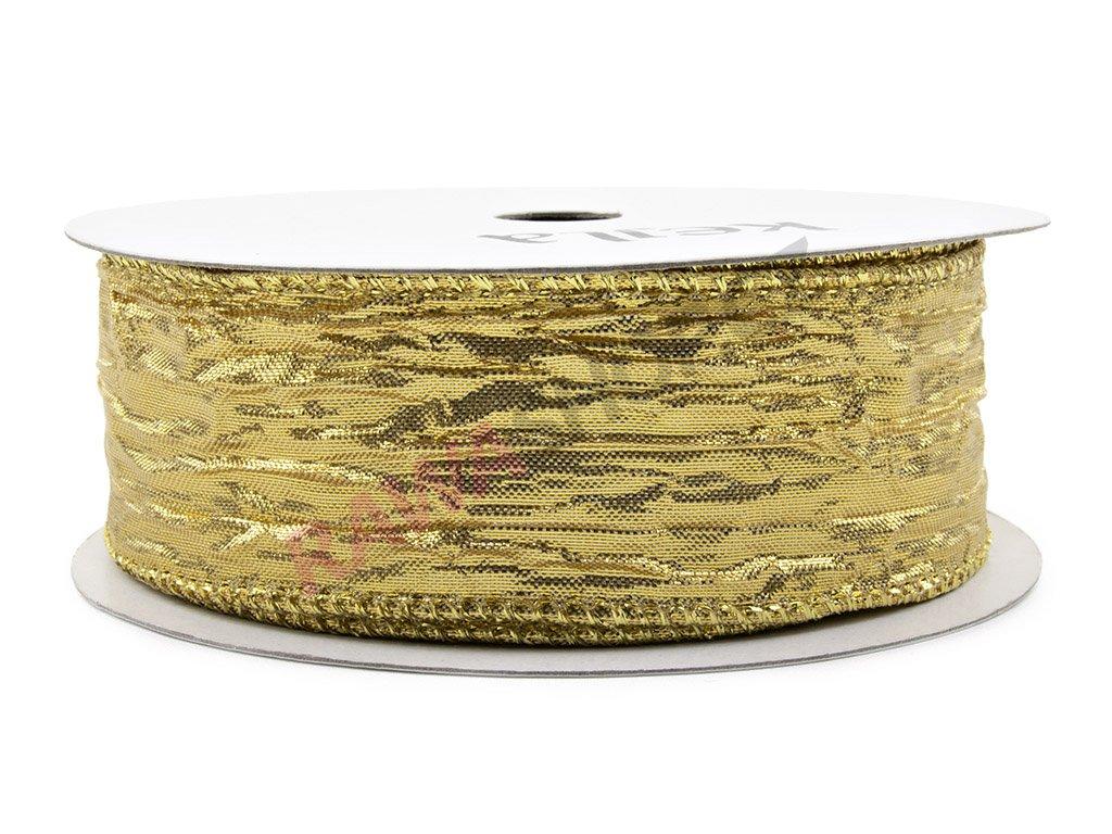 Pomačkaná stuha 3,8cm - zlatá
