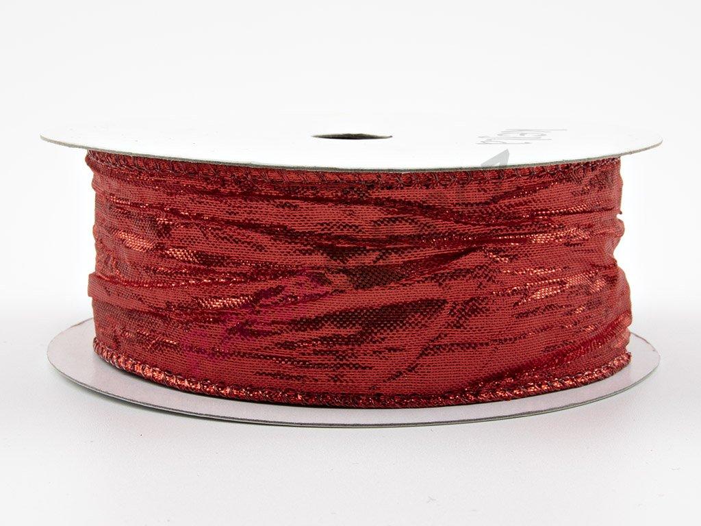 Pomačkaná stuha 3,8cm - červená