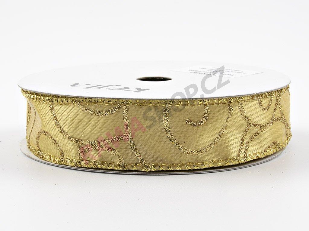 Saténová stuha 2,5cm - zlatá