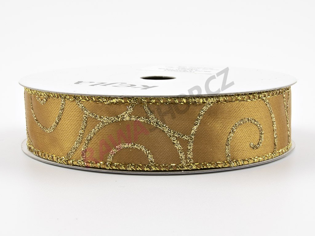Saténová stuha 2,5cm - tmavě zlatá