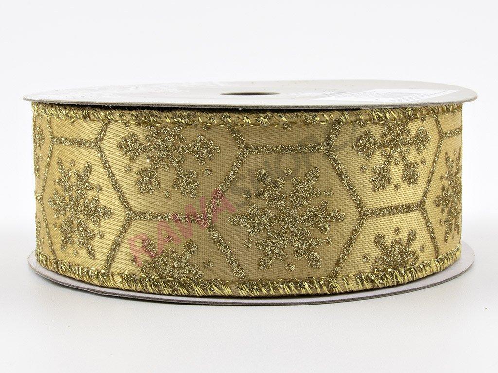 Saténová stuha s vločkou 3,8cm - zlatá