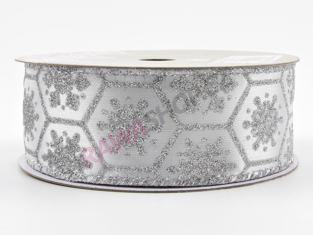 Saténová stuha s vločkou 3,8cm - stříbrná