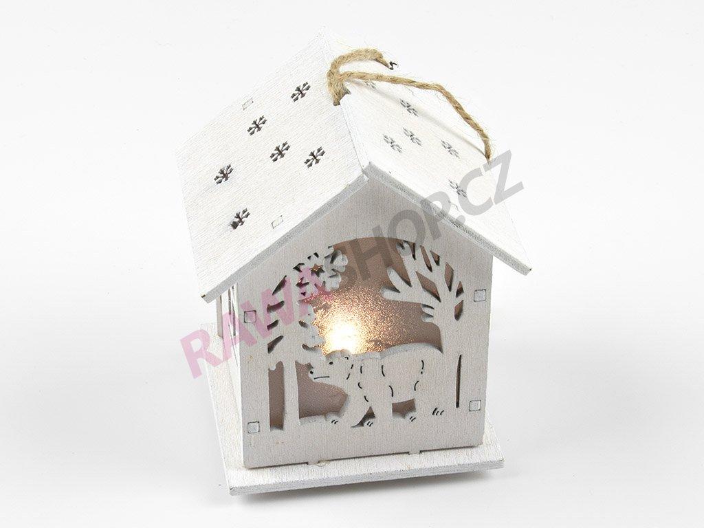 LED dřevěný domeček s medvědem