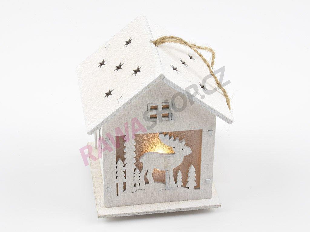LED dřevěný domeček se sobem