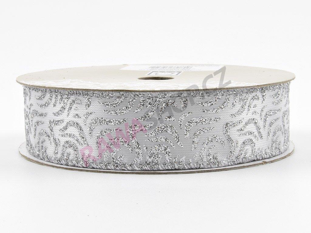 Saténová stuha 2,5cm - stříbrná