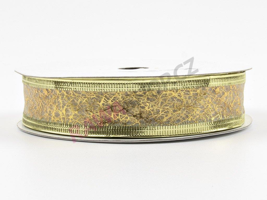 Organzová stuha 2cm - zlato-bílá