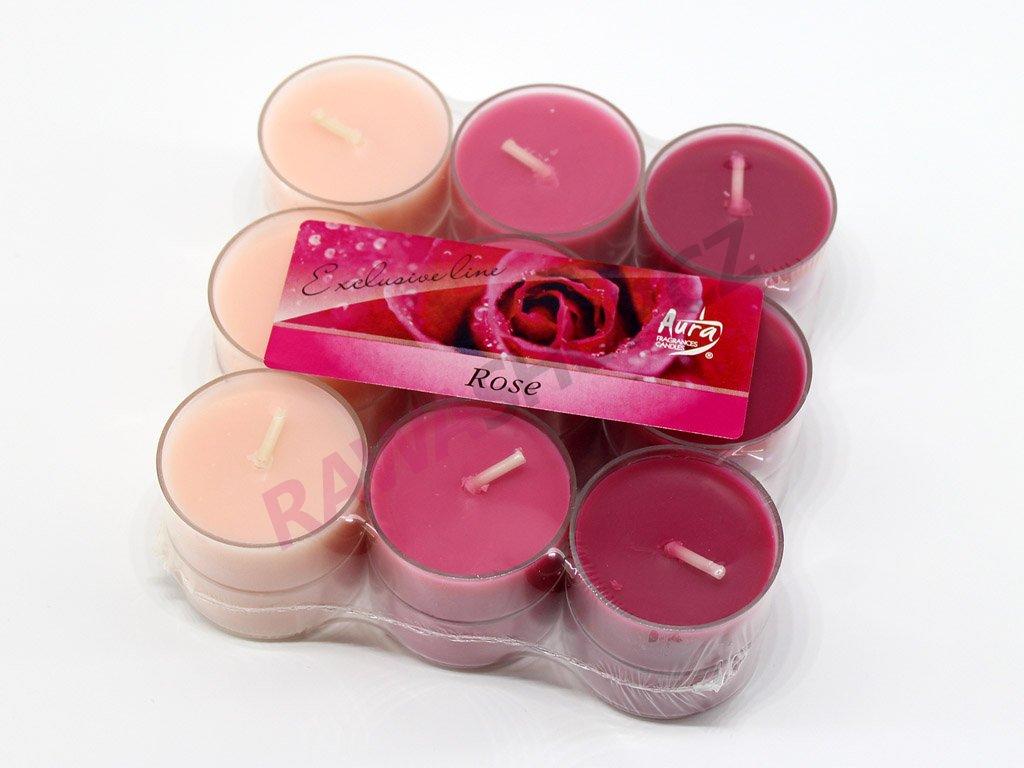 Čajové svíčky trio 18 ks (plast) - růže