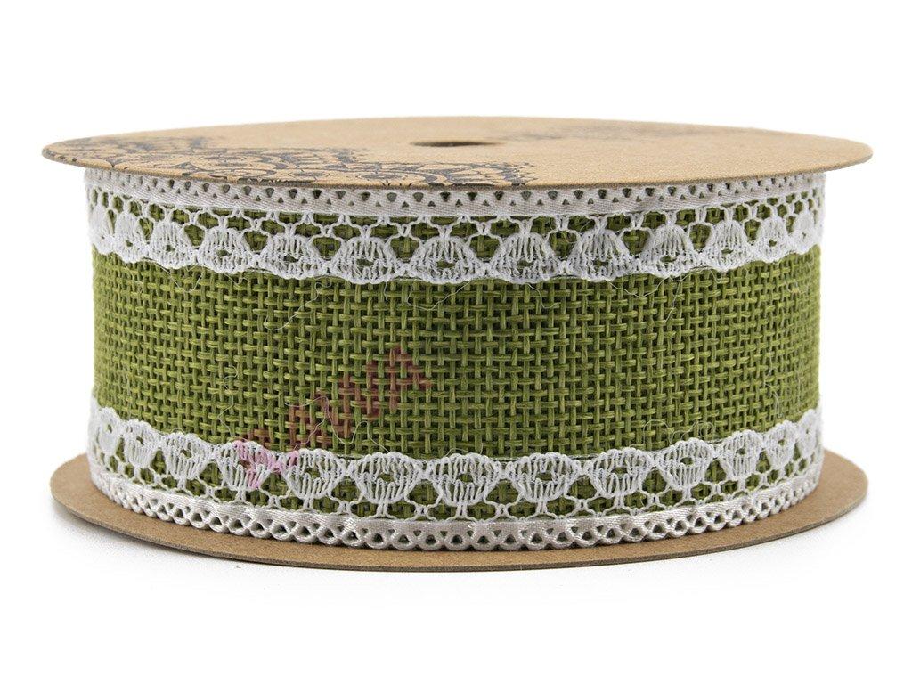 Jutová stuha s krajkou 4cm - zelená