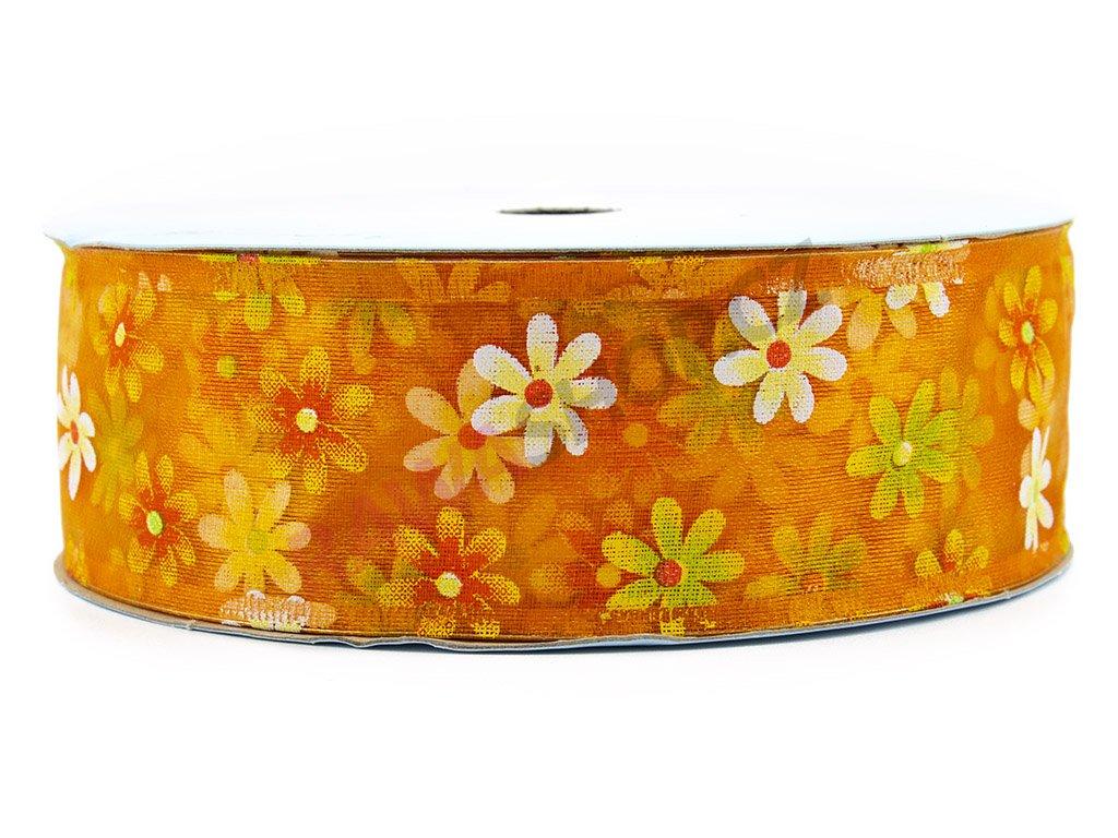 Stuha s květy 4cm - oranžová