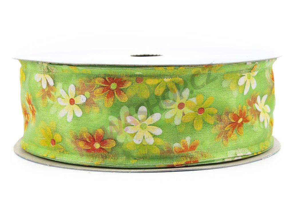 Stuha s květy 4cm - zelená