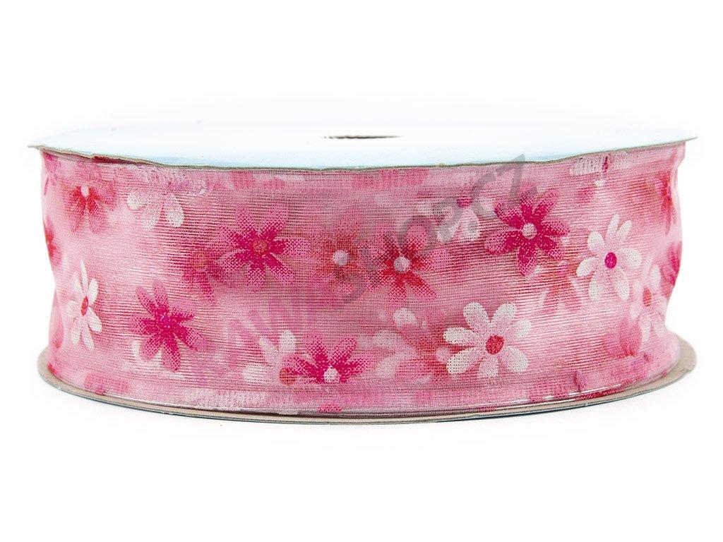 Stuha s květy 4cm - růžová