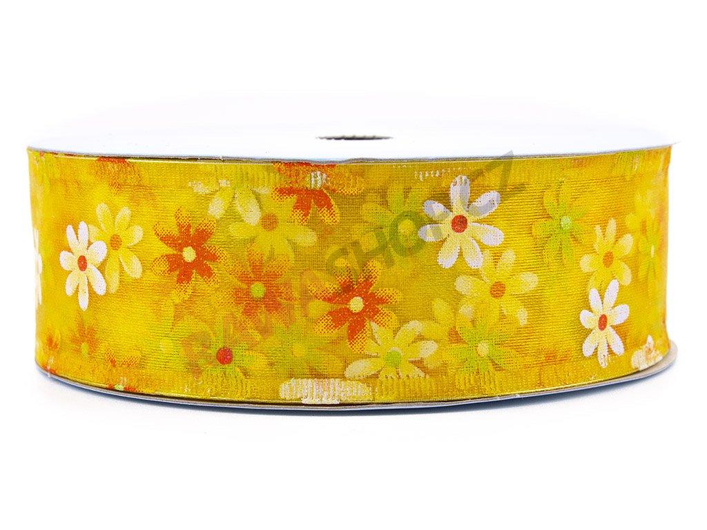 Stuha s květy 4cm - žlutá