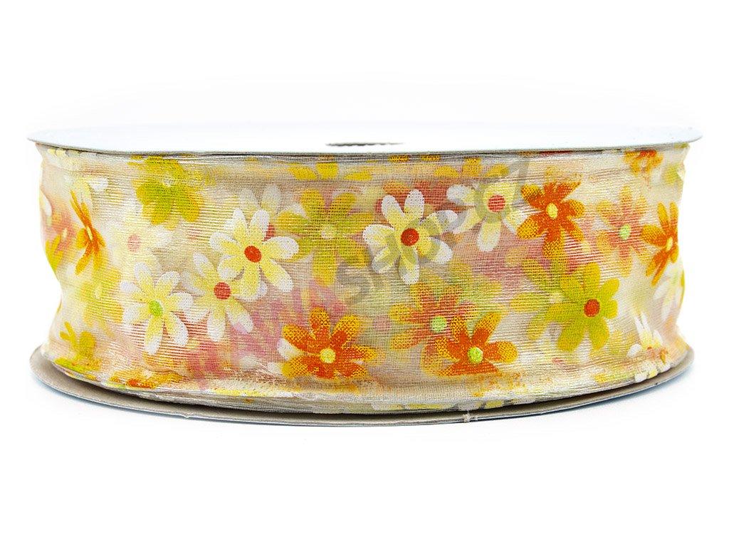 Stuha s květy 4cm - bílá