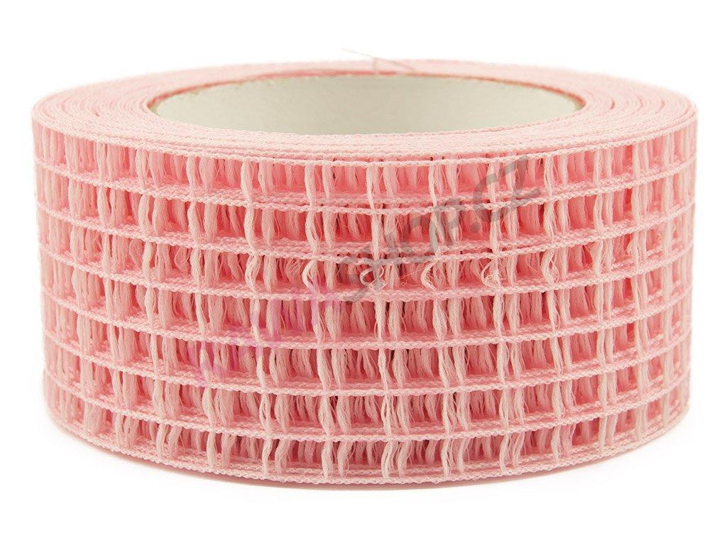 Děrovaná stuha 5cm - světle růžová