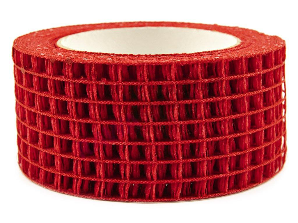 Děrovaná stuha 5cm - červená