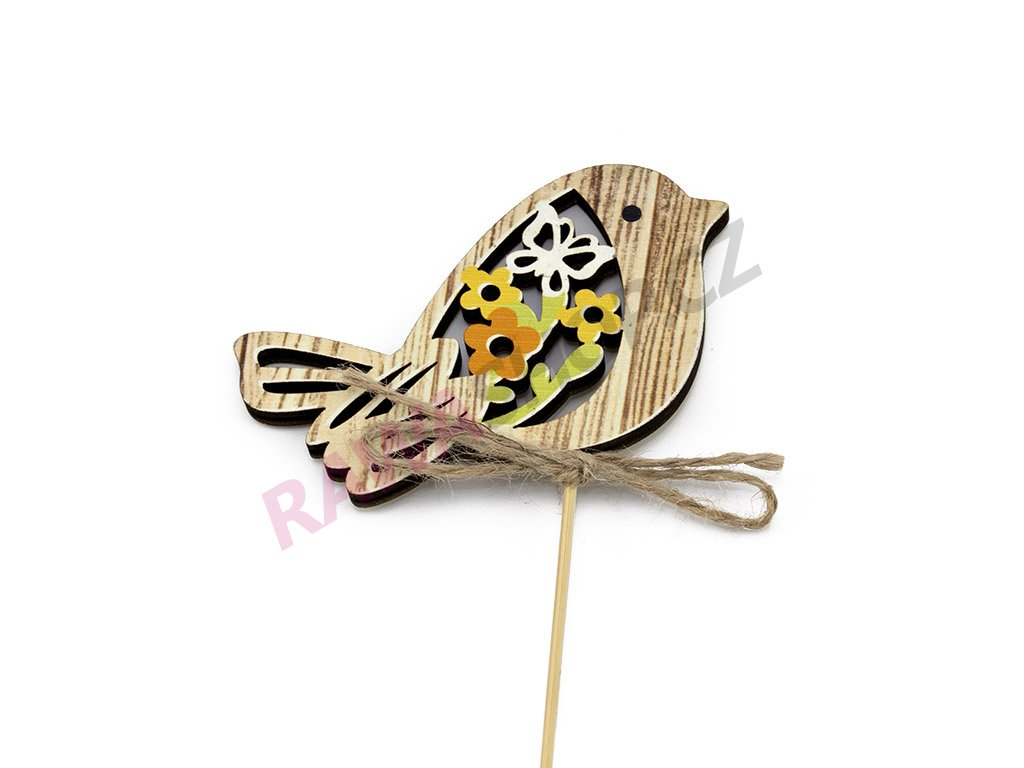 Zápich ptáček s motýlkem 6ks