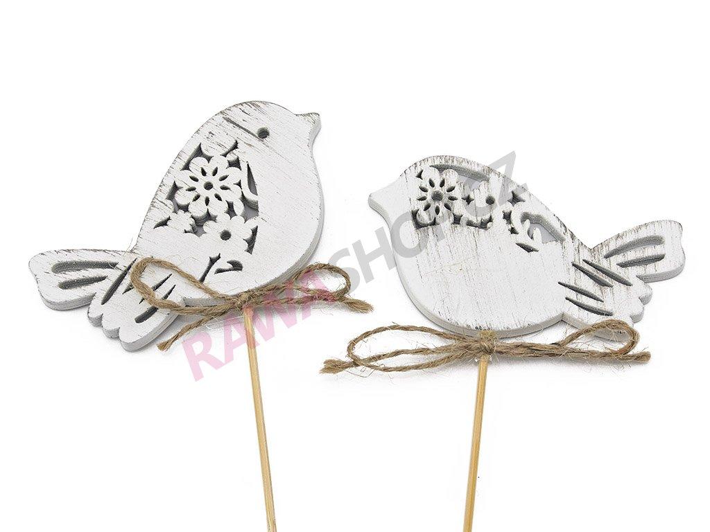 Zápich ptáček 10ks - bílá