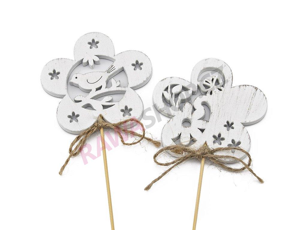 Zápich květinka 10ks- bílá