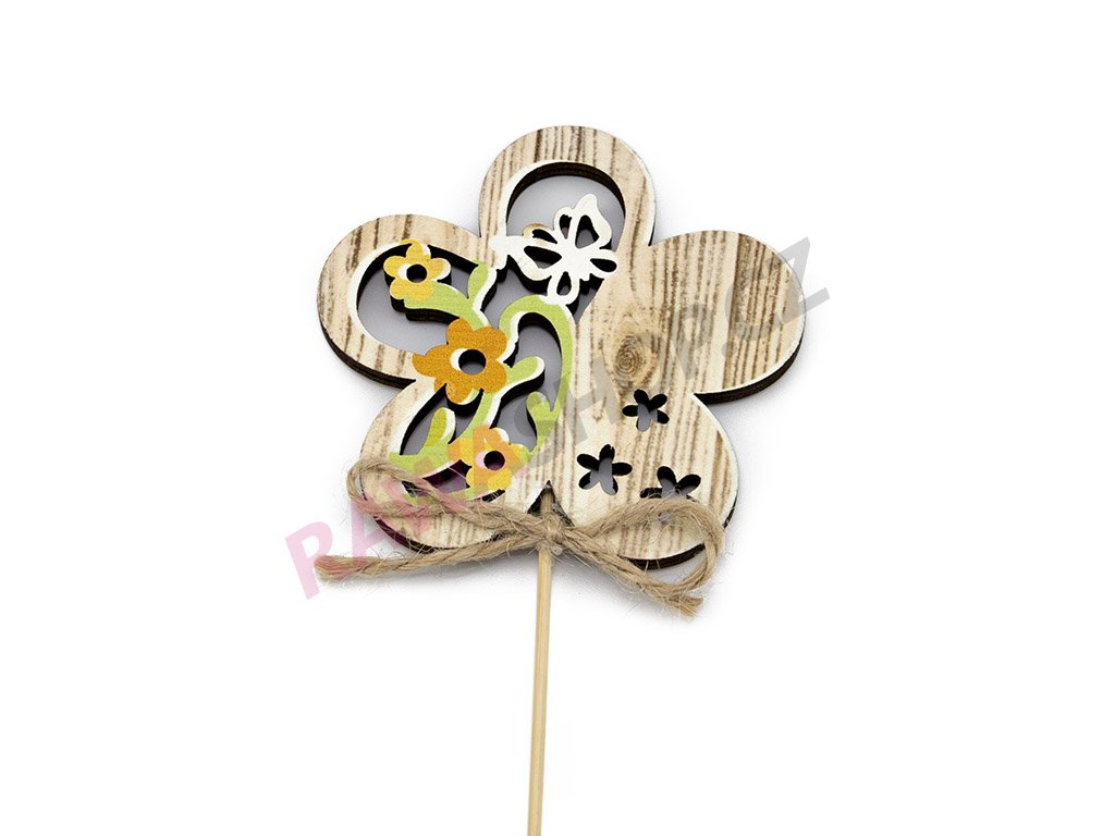 Zápich květinka s motýlkem 6ks