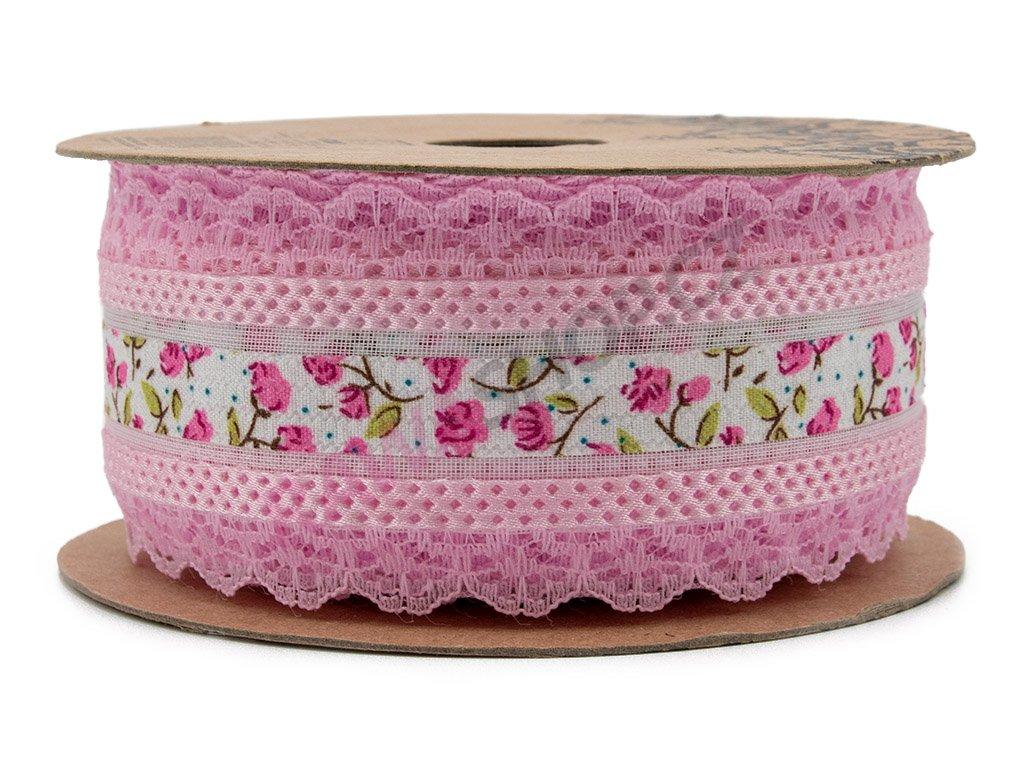Krajková stuha s květy - růžová