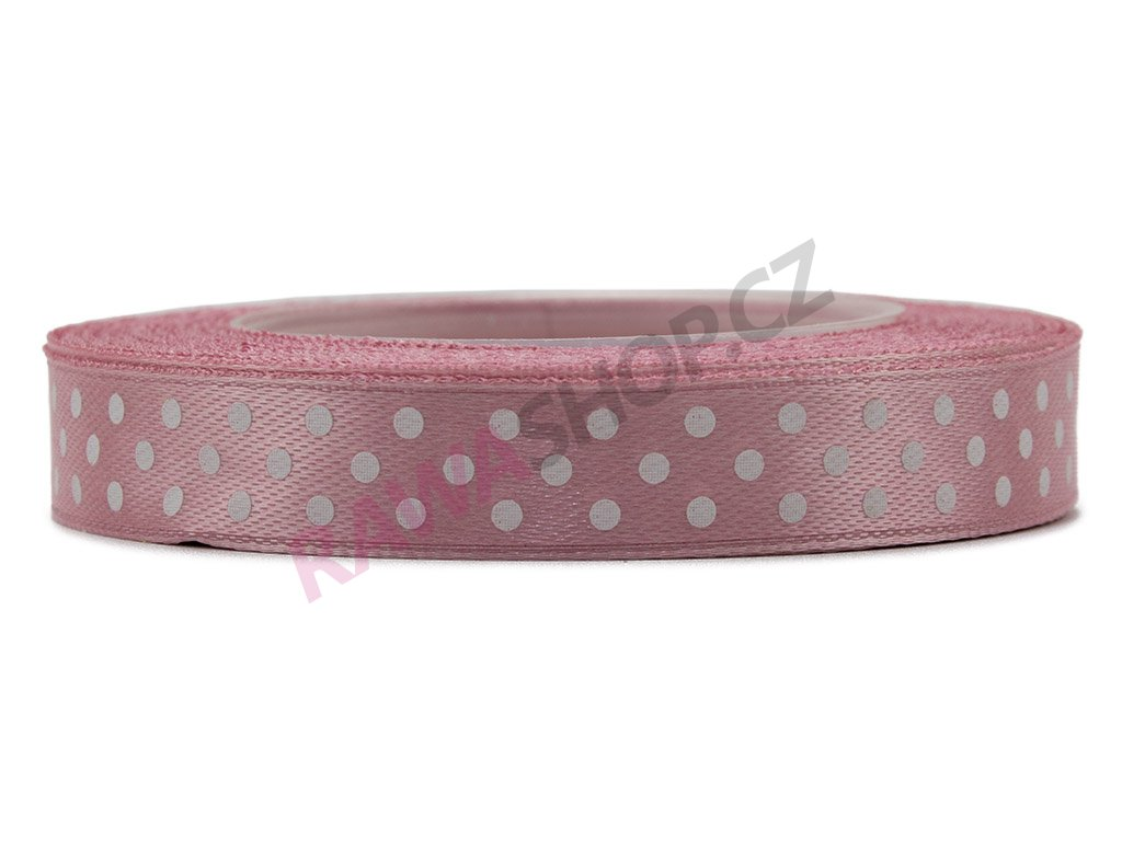 Saténová tečkovaná stuha 1,2cm - mat pink