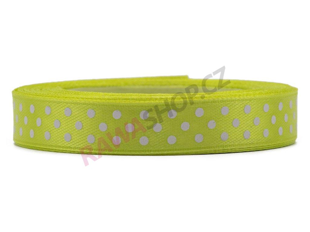 Saténová tečkovaná stuha 1,2cm - lt. olive green