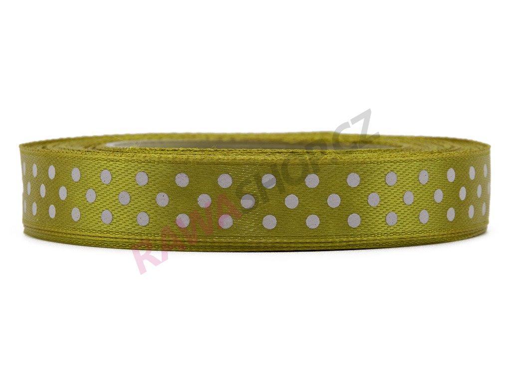 Saténová tečkovaná stuha 1,2cm - tea green