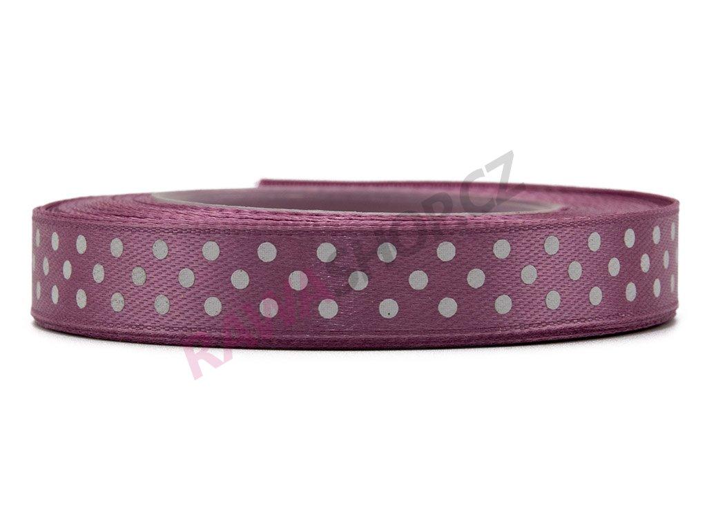 Saténová tečkovaná stuha 1,2cm - carmine pink