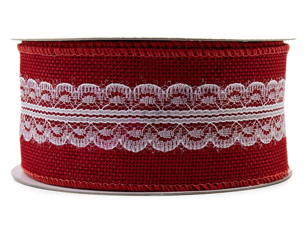 Jutová stuha s krajkou 5cm - červená