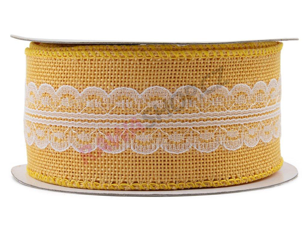 Jutová stuha s krajkou 5cm - žlutá