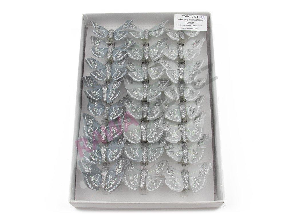 Motýlci 24ks - šedá