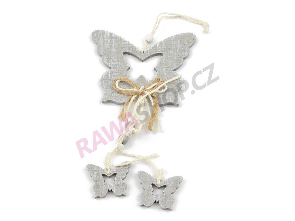 Závěs motýl s mašlí - šedá
