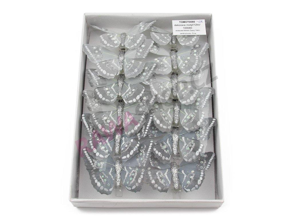 Motýlci 12ks - šedá