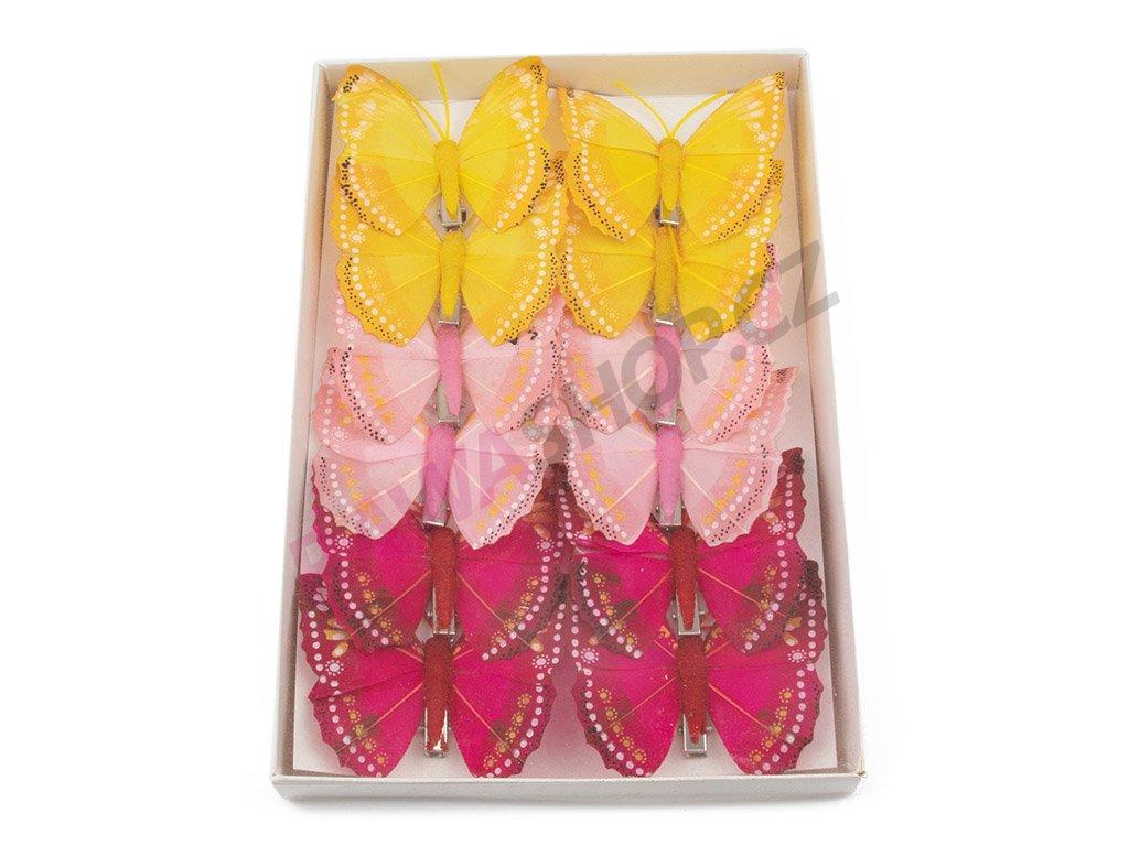 Motýlci 12ks - růžová/žlutá