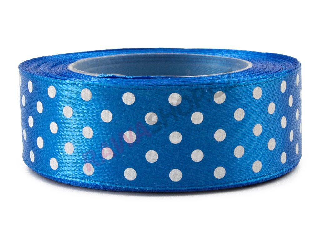 Saténová tečkovaná stuha 2,5cm - royal blue