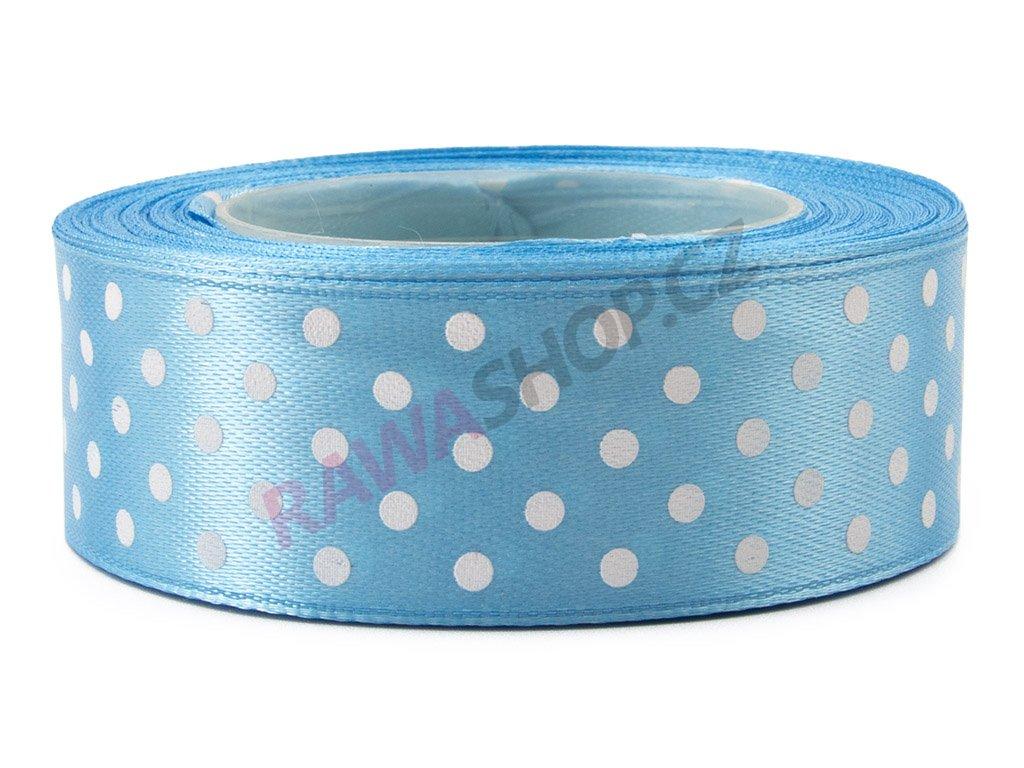 Saténová tečkovaná stuha 2,5cm - blue