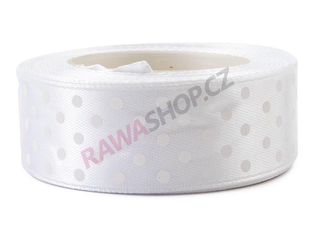 Saténová tečkovaná stuha 2,5cm - white