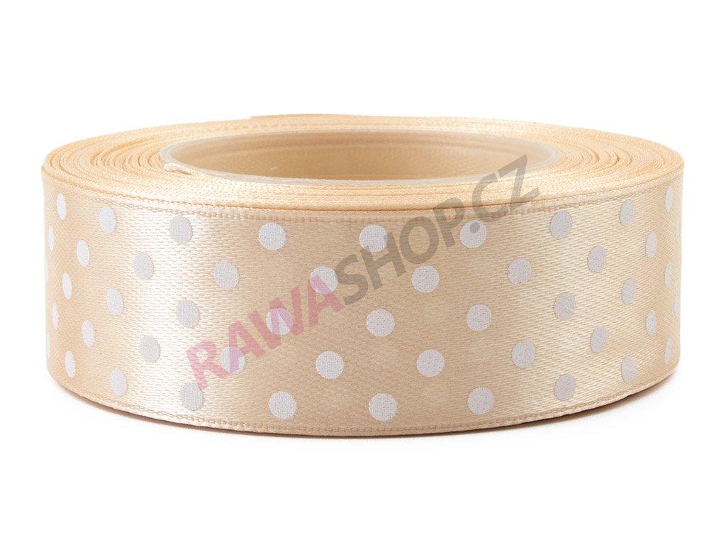 Saténová tečkovaná stuha 2,5cm - beige
