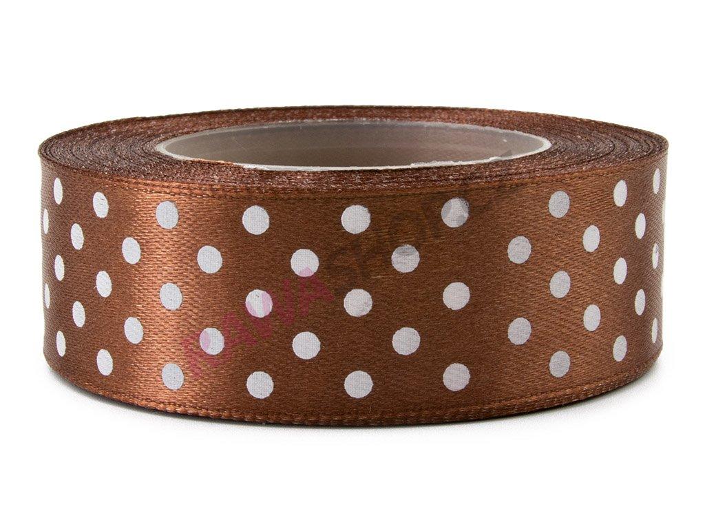 Saténová tečkovaná stuha 2,5cm - brown