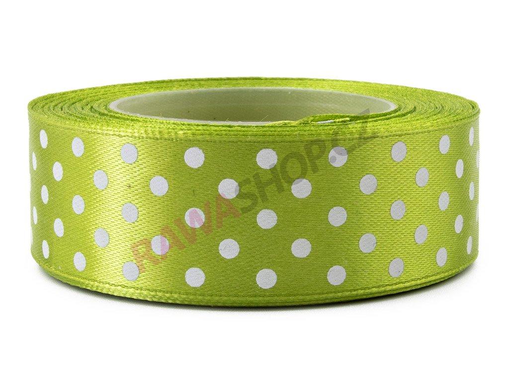 Saténová tečkovaná stuha 2,5cm - olive green