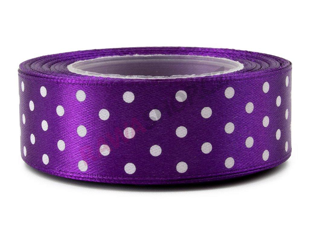 Saténová tečkovaná stuha 2,5cm - dark violet